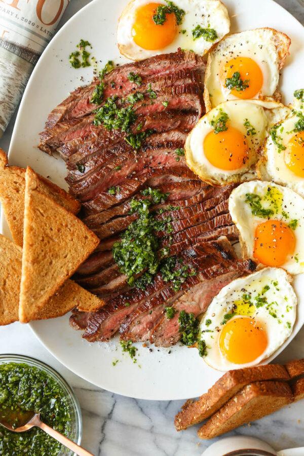 The 40 BEST Steak Recipes - steak and eggs.