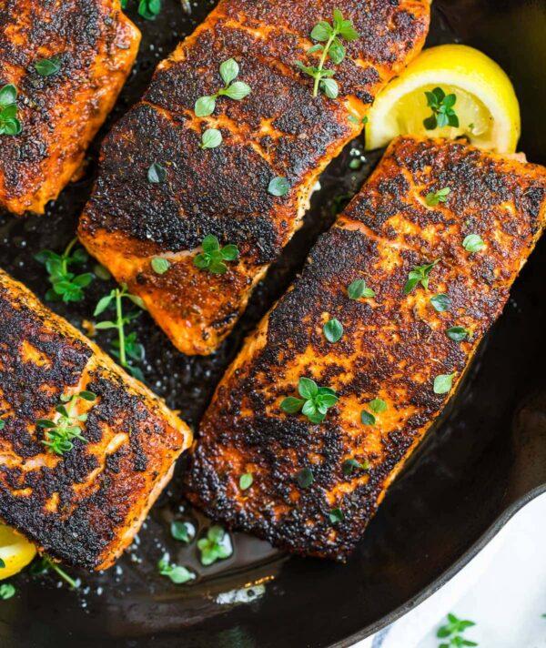 Blackened salmon.