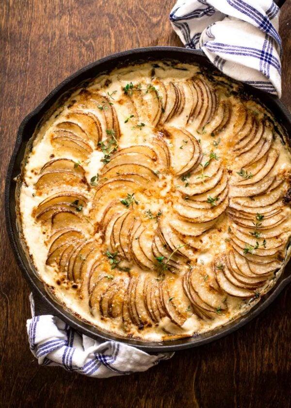Creamy Au Gratin Potatoes with Kale and Gruyere.
