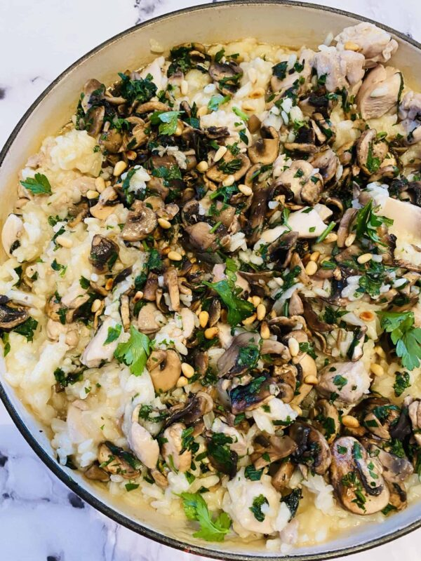 Chicken and mushroom risotto.