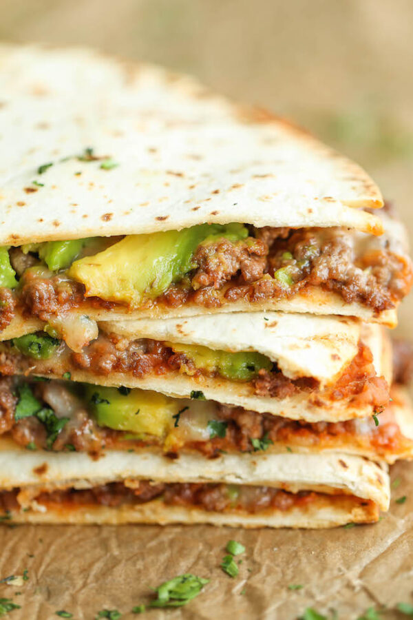 45 BEST Ground Beef Recipes - cheesy avocado quesadillas.