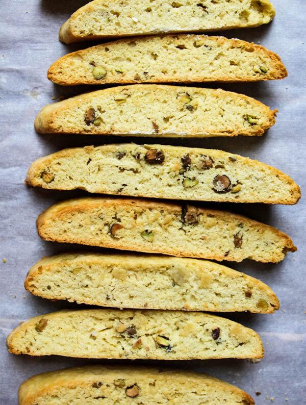Orange pistachio biscotti.