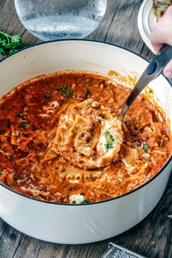 45 BEST Ground Beef Recipes - lasagna soup.