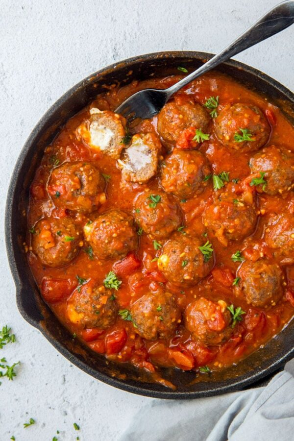 The 45+ BEST Meatball Recipes - Mozzarella stuffed meatballs.