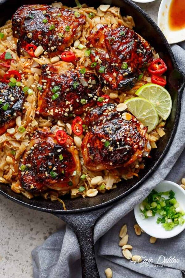 Thai Chicken Thighs and Noodles.