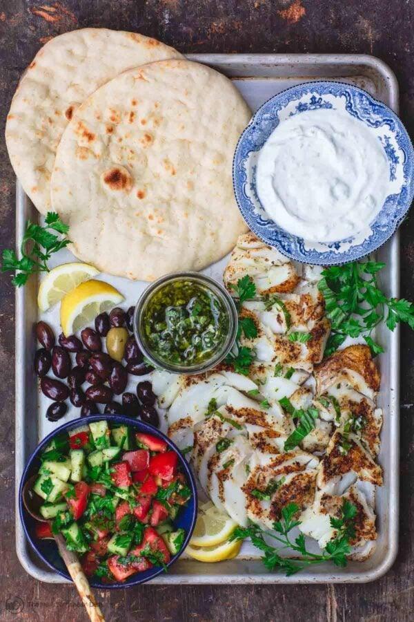 The 35 BEST Pita Recipes - grilled cod gyros.