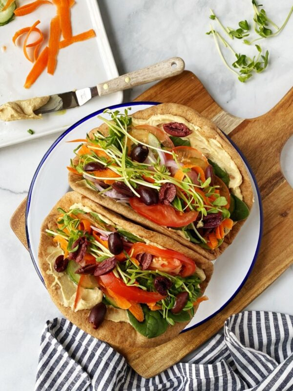 The 35 BEST Pita Recipes - hummus veggie pita wraps.
