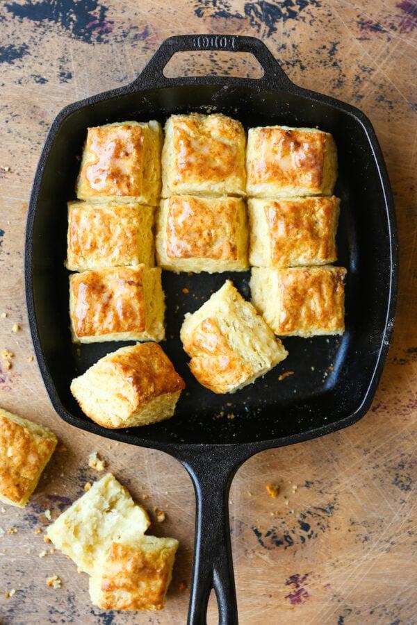 Skillet buttermilk biscuits.