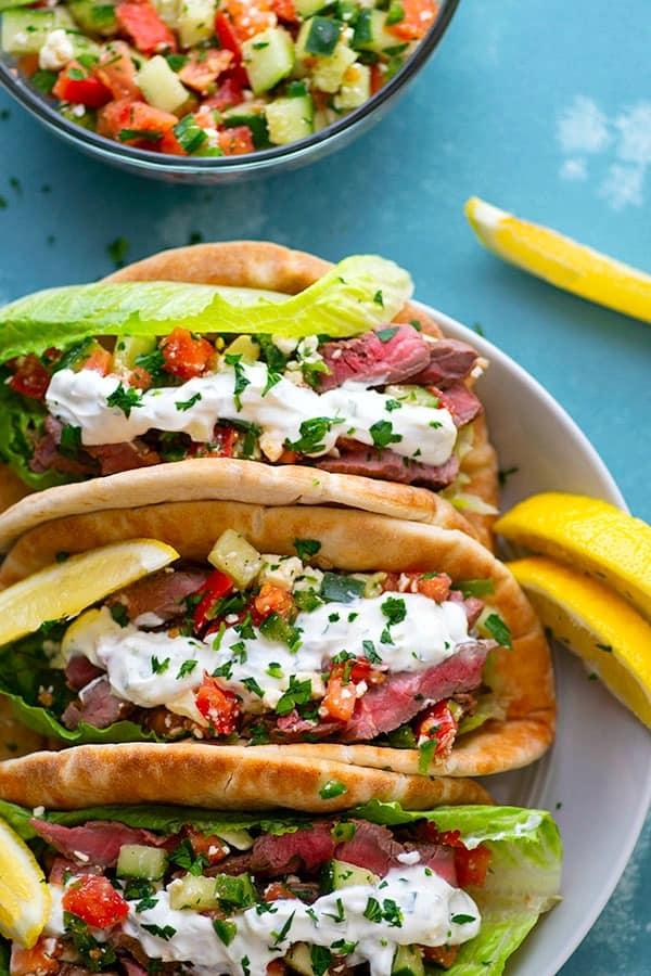 The 35 BEST Pita Recipes - steak gyros.