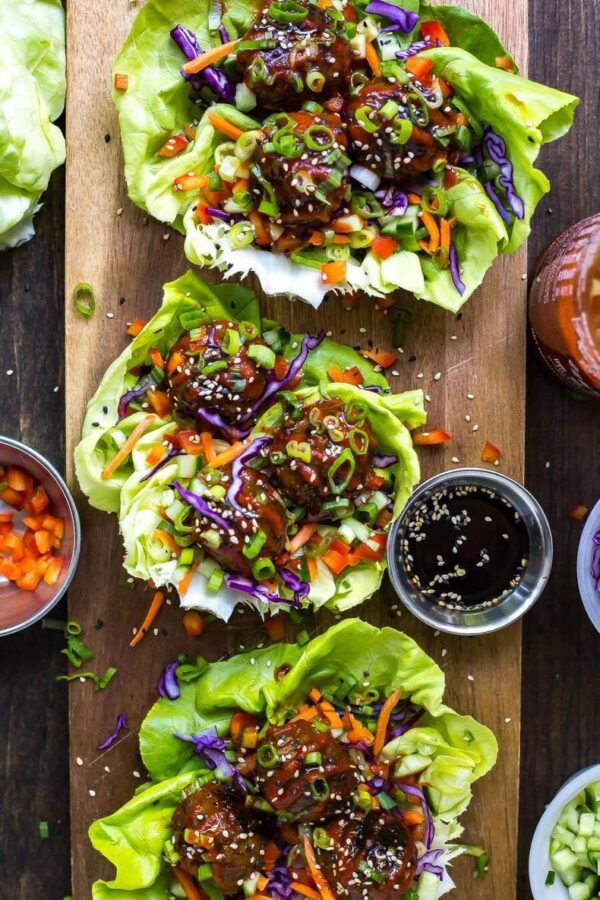 The 45+ BEST Meatball Recipes - Meatball lettuce wraps.