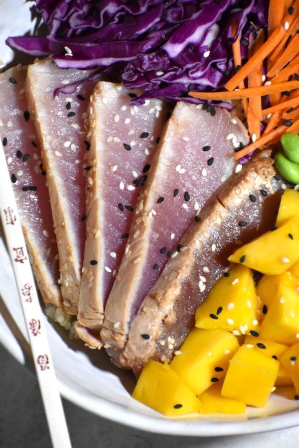 Close up of lightly seared tuna.