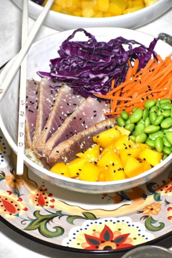 Tataki bowl atop the Gypsy Plate.
