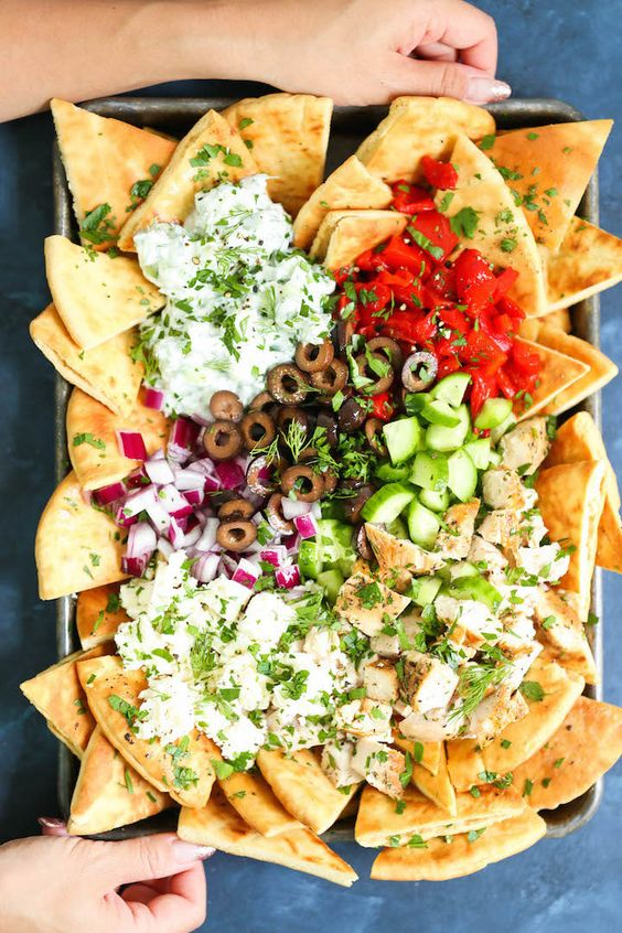The 35 BEST Pita Recipes - sheet pan Greek nachos.