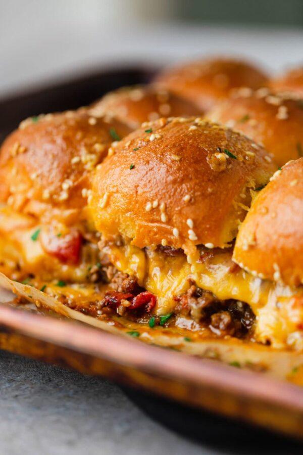 45 BEST Ground Beef Recipes - cheeseburger sliders.