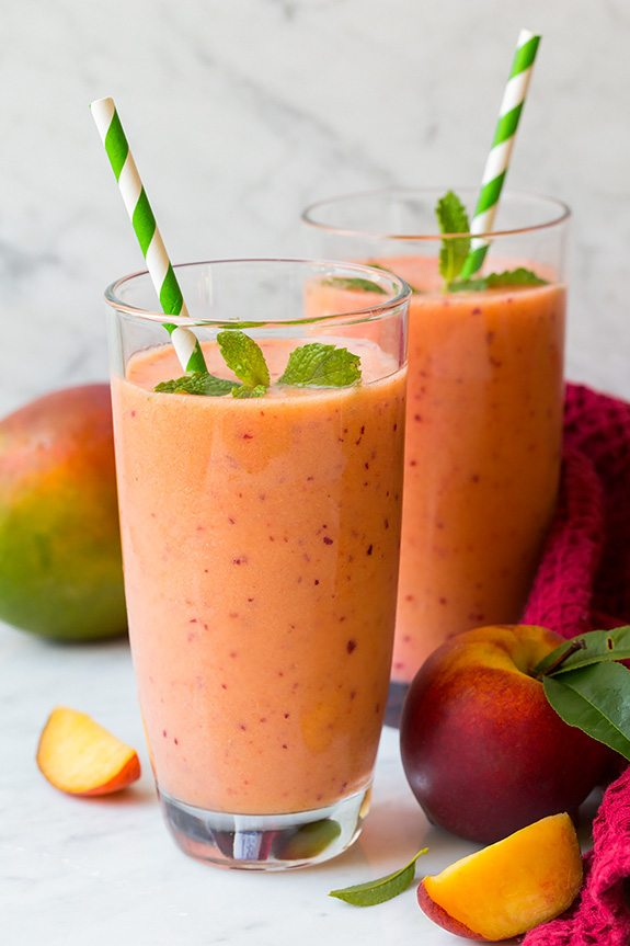 The 35 BEST Smoothie Recipes - mango, peach and strawberry.