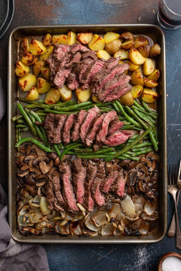 The 40 BEST Steak Recipes - sheet pan steak and veggies.