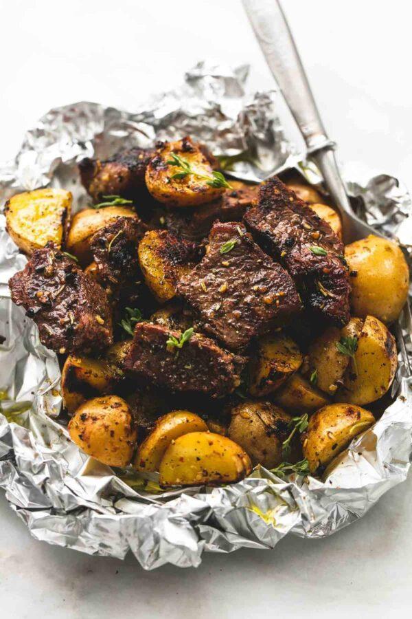 The 40 BEST Steak Recipes - steak and potato foil packs.