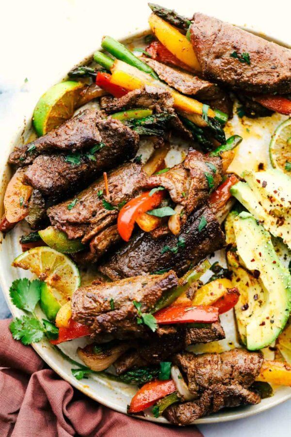 The 40 BEST Steak Recipes - fajita roll ups.