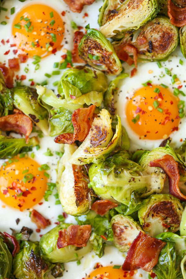The 25 BEST Brussels Sprout Recipes - brussels with eggs and bacon.