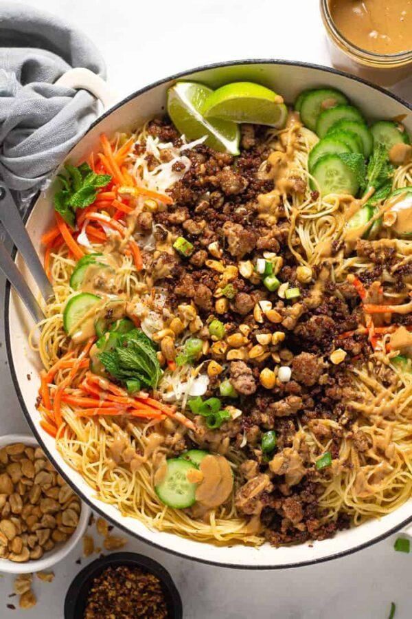 The 35 BEST Ground Pork Recipes - Thai pork noodles.