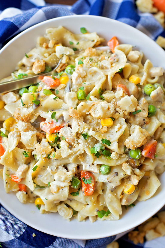 The 30 BEST One Pot Meals - chicken pot pie noodles.