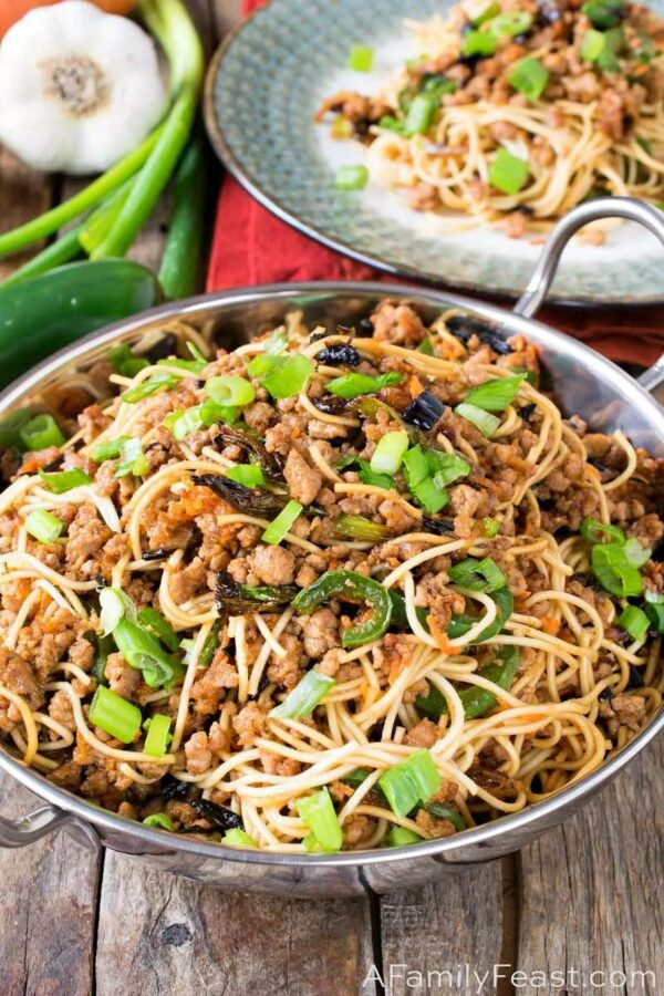 The 35 BEST Ground Pork Recipes - scallion noodles.