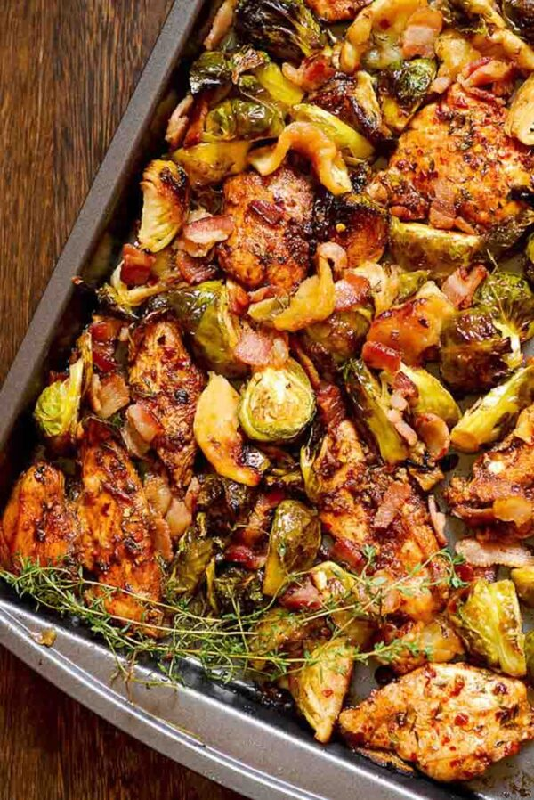 The 25 BEST Brussels Sprout Recipes - sheet pan chicken, brussels and bacon.