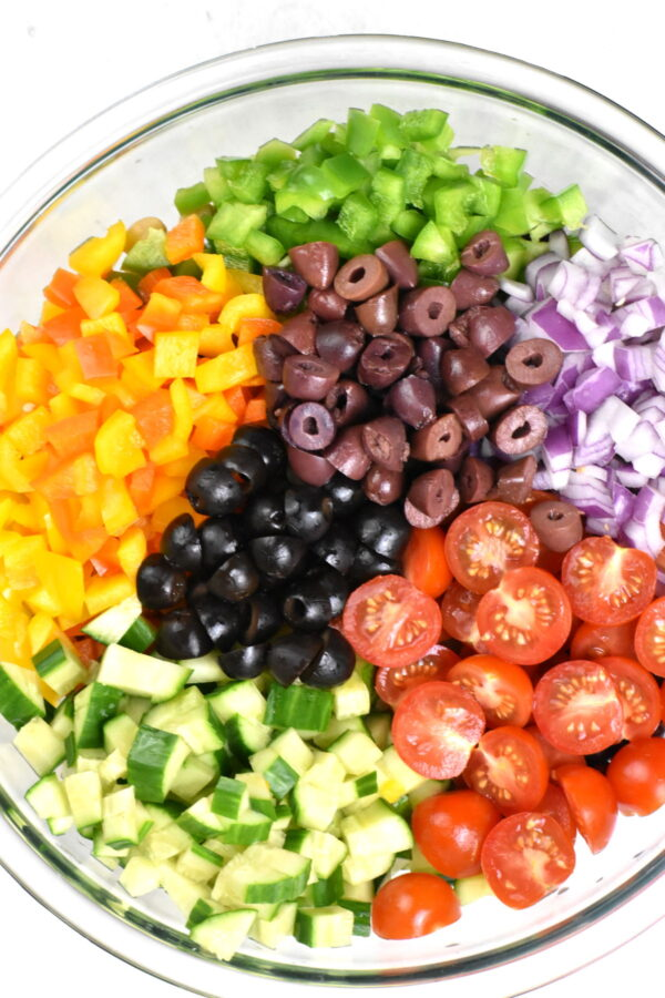 Ingredients arranged in a bowl prior to mixing.