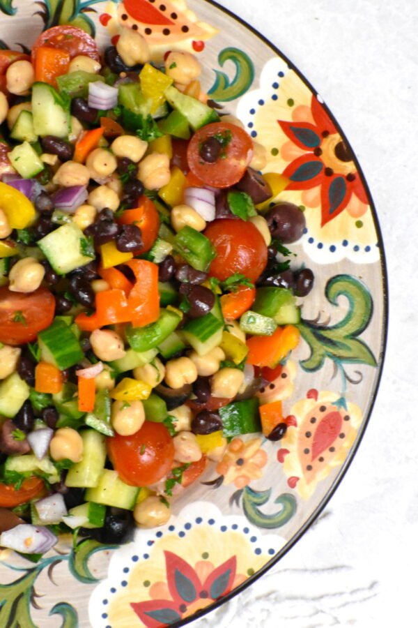 A serving of balela salad on the Gypsy Plate.