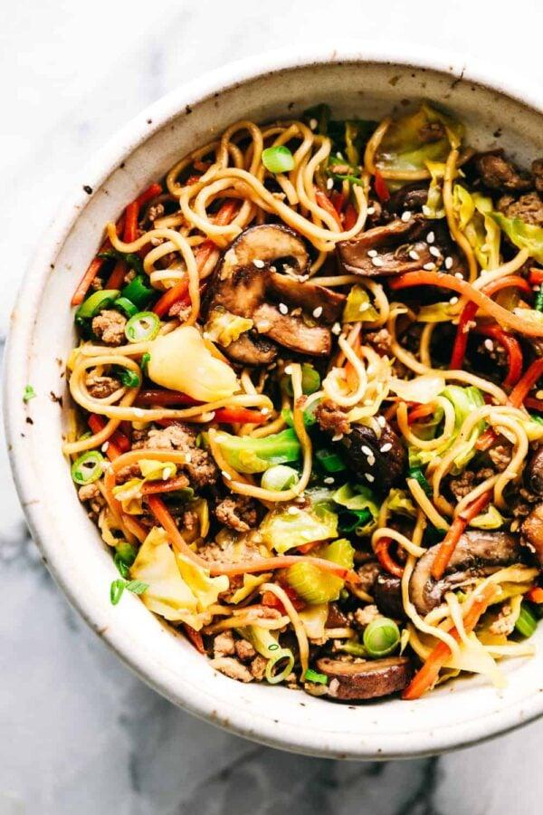 The 35 BEST Ground Pork Recipes - eggroll noodle skillet.