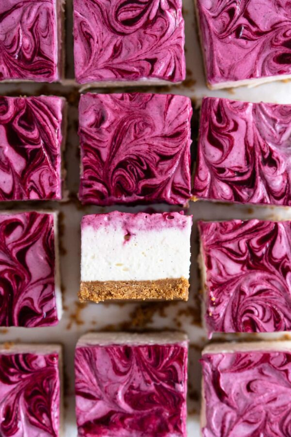 The 35 BEST Cheesecake Recipes - mixed berry cheesecake bars.