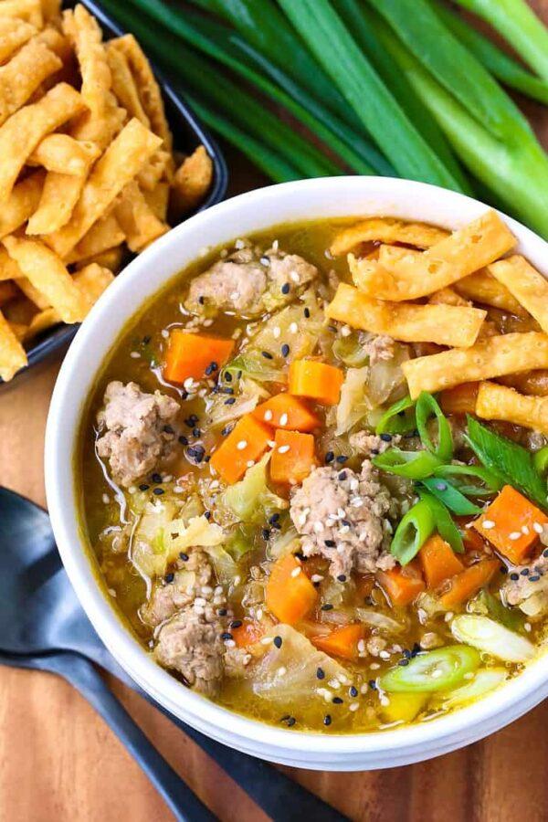The 35 BEST Ground Pork Recipes - eggroll soup.