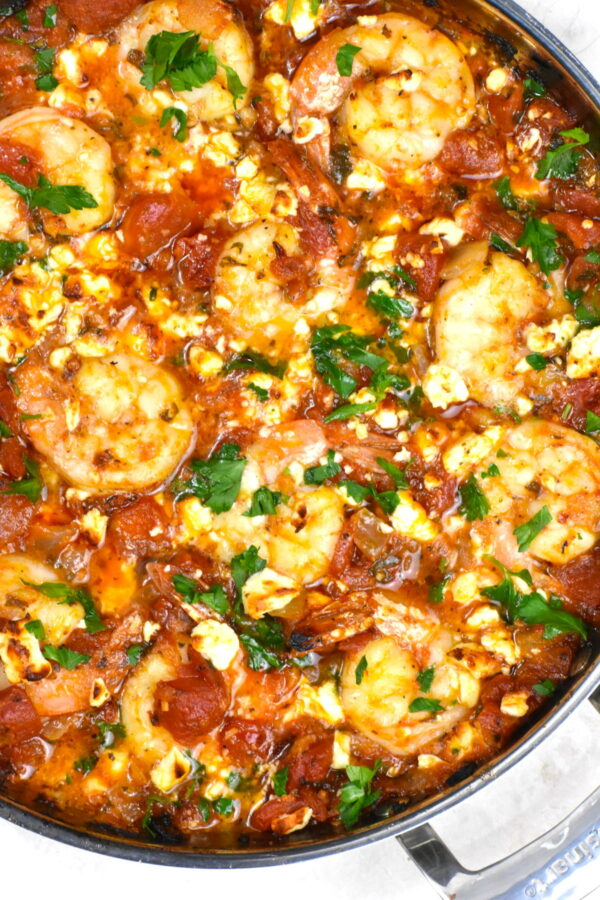 Plump shrimp in tomato sauce and topped with melty feta cheese.