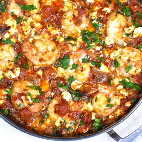 Shrimp Saganaki (Greek Shrimp with Tomatoes & Feta)