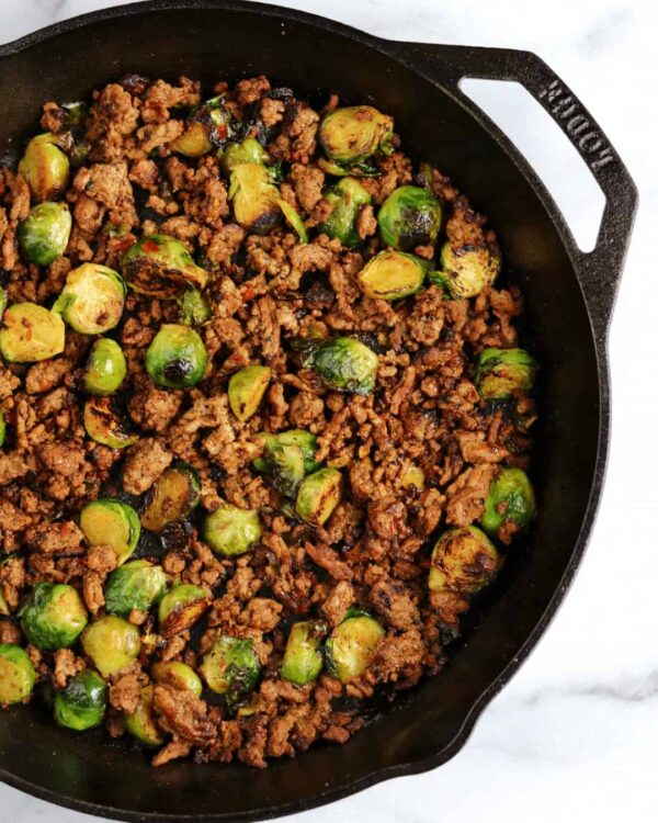 The 25 BEST Brussels Sprout Recipes - ground beef skillet.