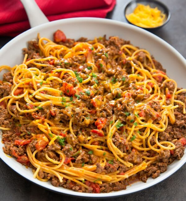 The 30 BEST One Pot Meals - taco spaghetti.