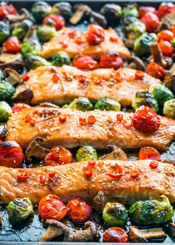 The 25 BEST Brussels Sprout Recipes - sheet pan teriyaki salmon.