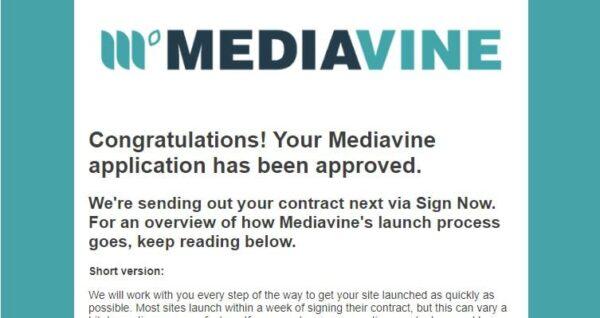 Mediavine acceptance letter.