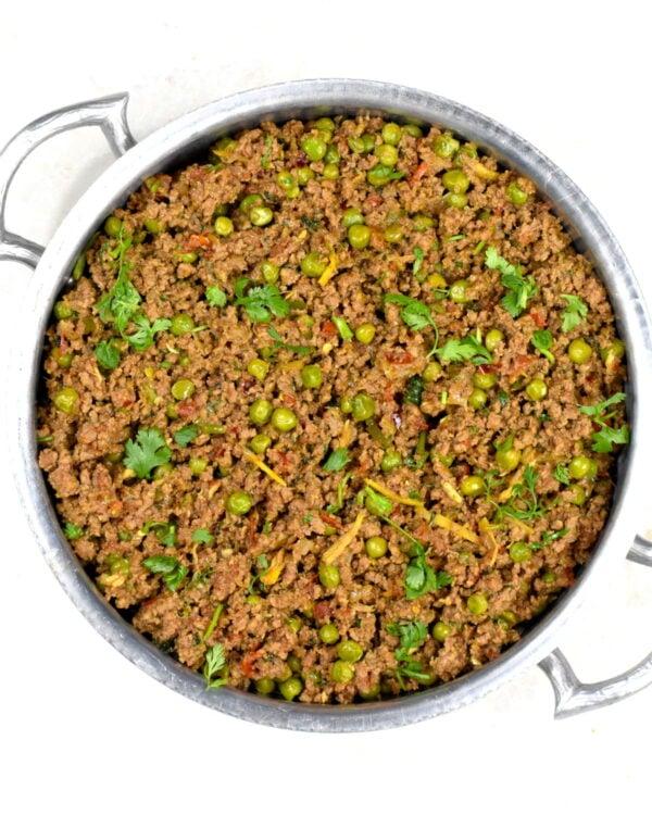 The metal bowl full of beef kheema.
