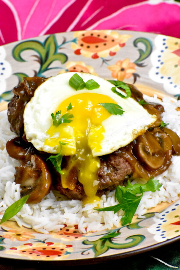 A serving of loco moco on the Gypsy Plate.