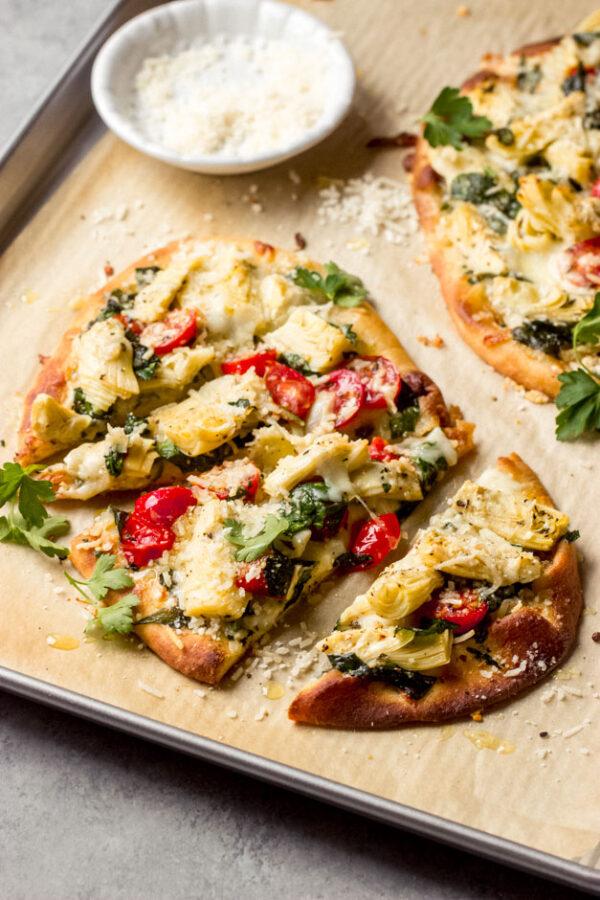 The 30 BEST Flatbread Recipes - artichoke, tomato and spinach.