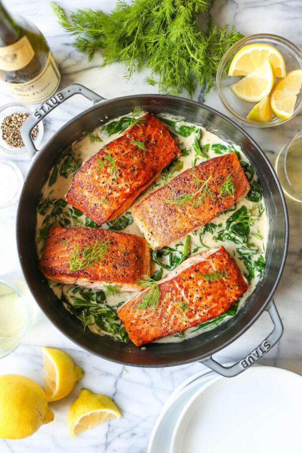 The 30 BEST Quick Dinners - salmon in garlic cream sauce.