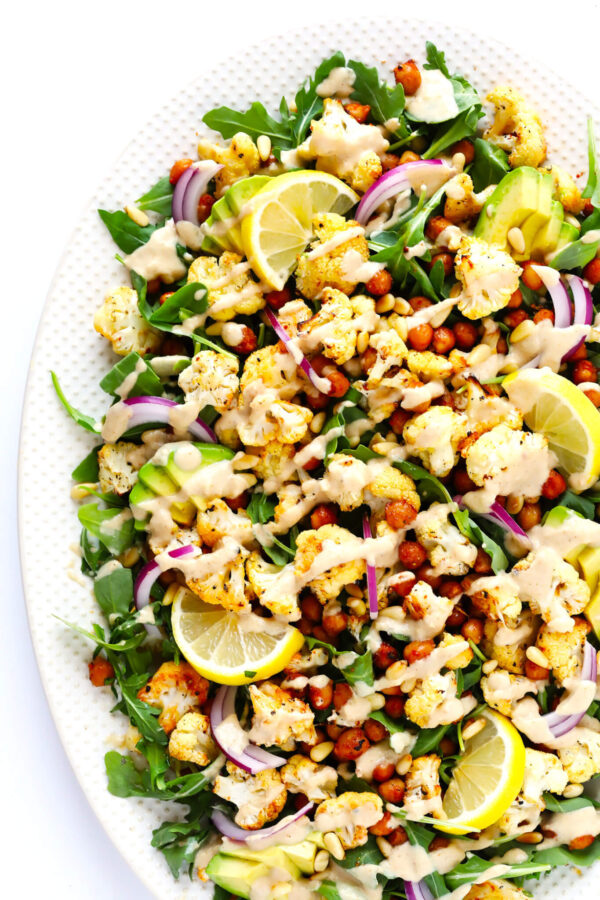 The 35 BEST Cauliflower Recipes - cauliflower, chickpea and arugula salad.