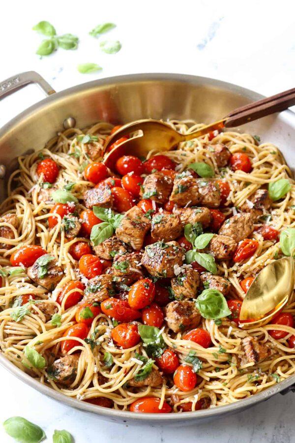 The 30 BEST Quick Dinners - bruschetta chicken pasta.