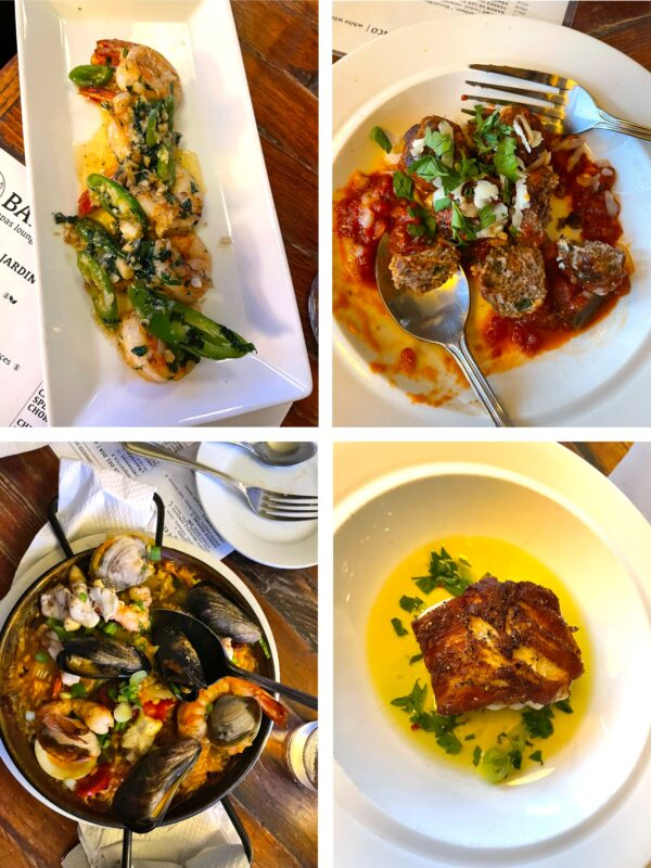 A collage of four dishes from Barsa Tapas Lounge in Charleston.