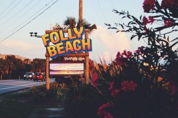 A sign for Folly Beach.