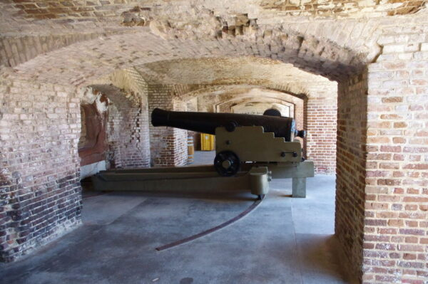 A cannon at Fort Sumter.