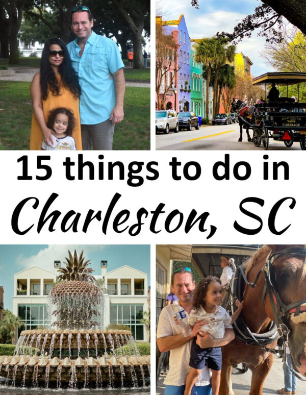 Collage of four places in historic Charleston, SC.