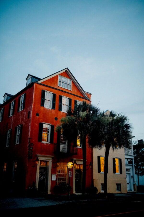 A Charleston house at dusk.