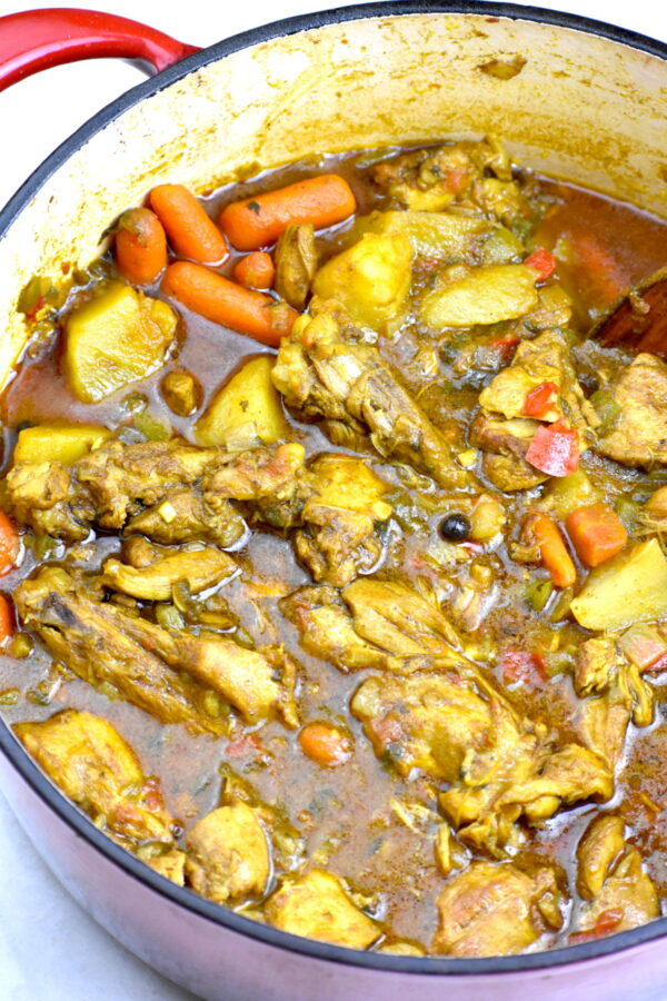 The big potful of Jamaican curry cooked and ready to eat!